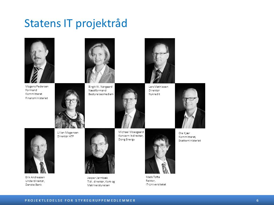 Statens IT projektråd Mogens Pedersen Formand Kommitteret