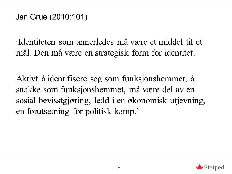 03.04.2017 Jan Grue (2010:101) 'Identiteten som annerledes må være et middel til et mål. Den må være en strategisk form for identitet.