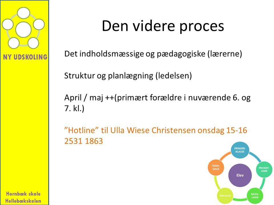 Den videre proces Det indholdsmæssige og pædagogiske (lærerne)