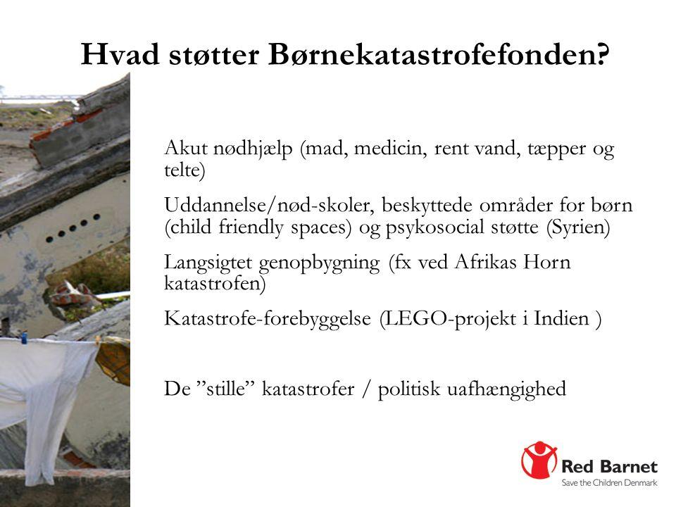 Hvad støtter Børnekatastrofefonden