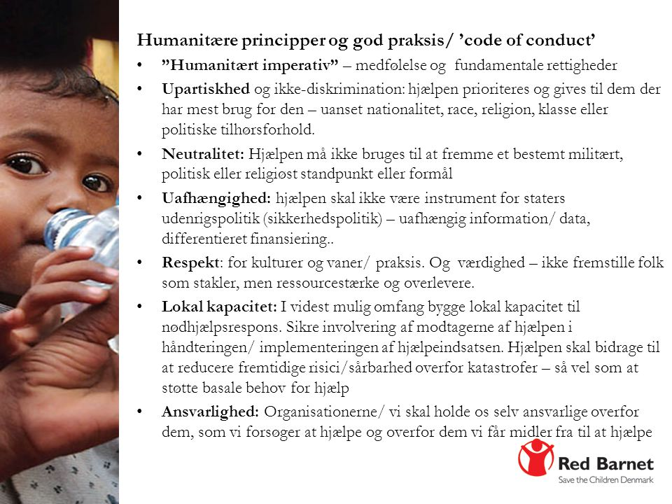 Humanitære principper og god praksis/ 'code of conduct'