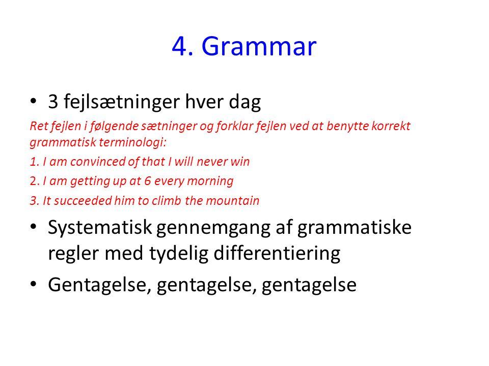 4. Grammar 3 fejlsætninger hver dag