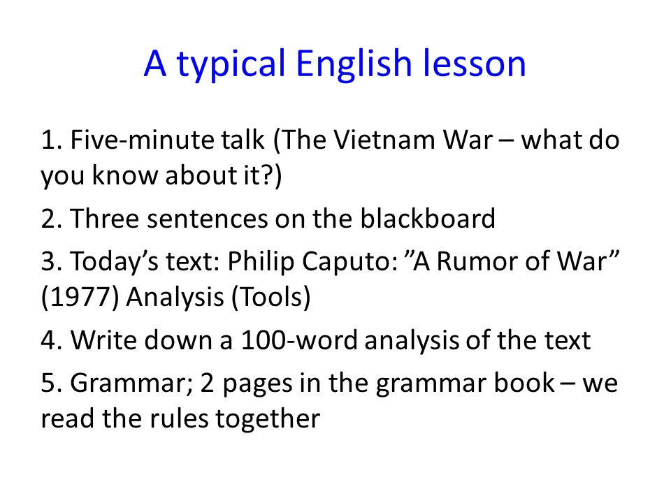 A typical English lesson