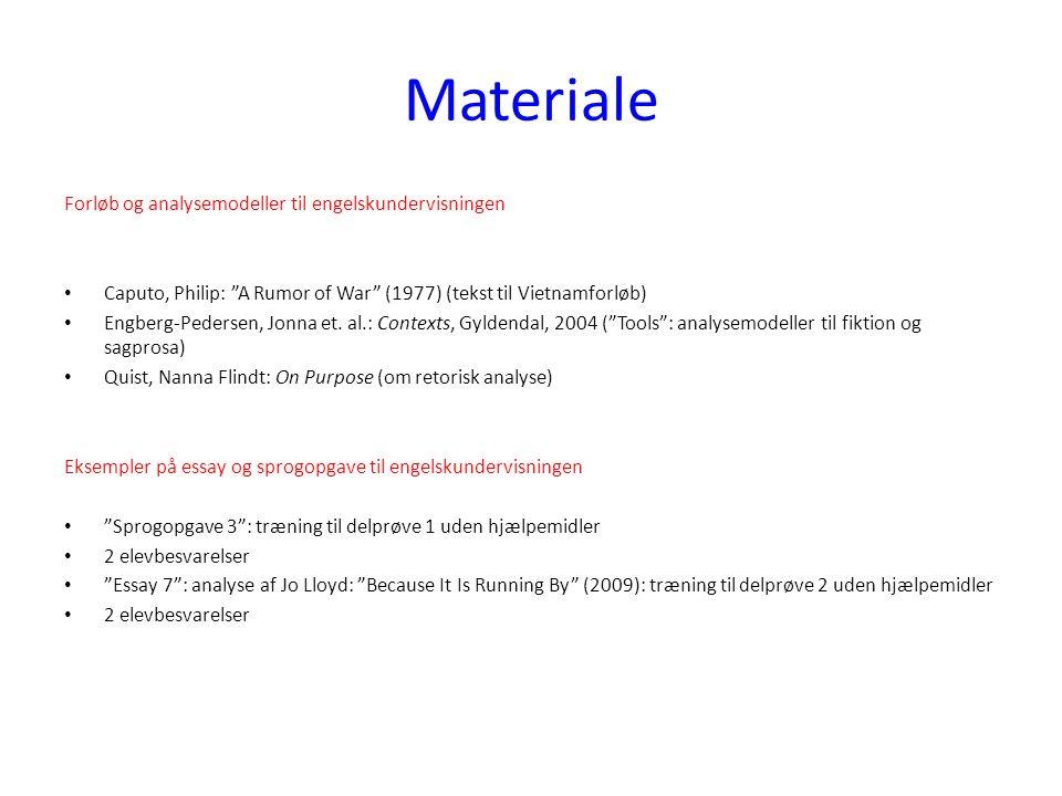 Materiale Forløb og analysemodeller til engelskundervisningen