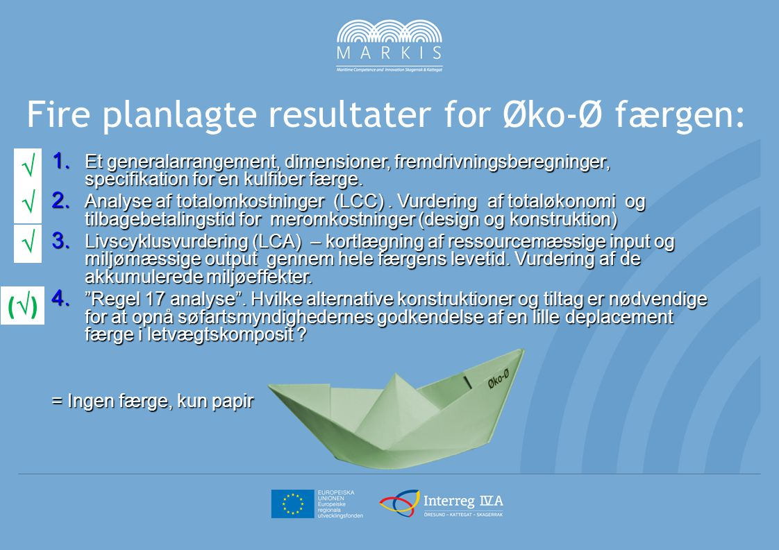 Fire planlagte resultater for Øko-Ø færgen: