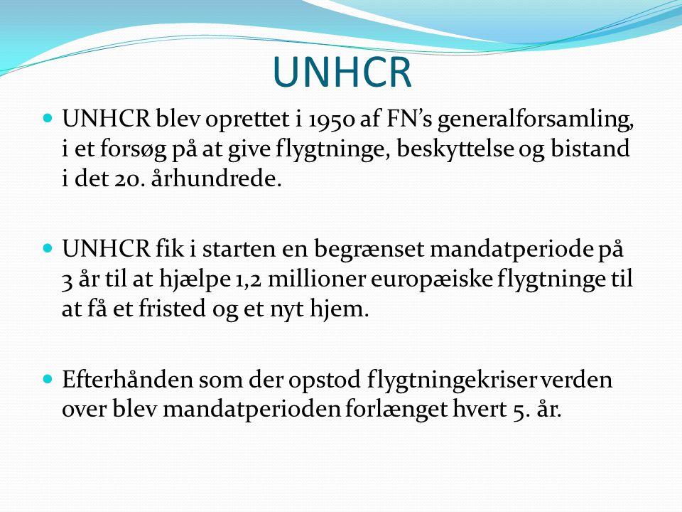 UNHCR UNHCR blev oprettet i 1950 af FN's generalforsamling, i et forsøg på at give flygtninge, beskyttelse og bistand i det 20. århundrede.