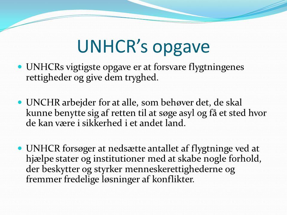 UNHCR's opgave UNHCRs vigtigste opgave er at forsvare flygtningenes rettigheder og give dem tryghed.