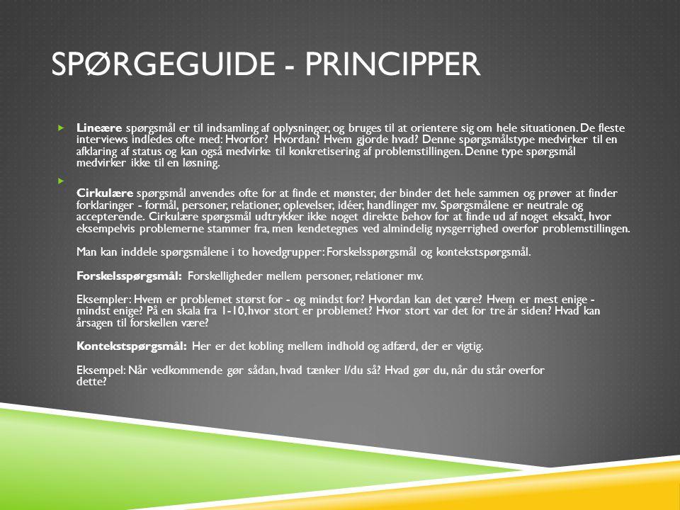 Spørgeguide - principper