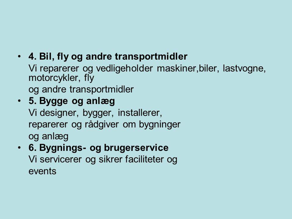 4. Bil, fly og andre transportmidler
