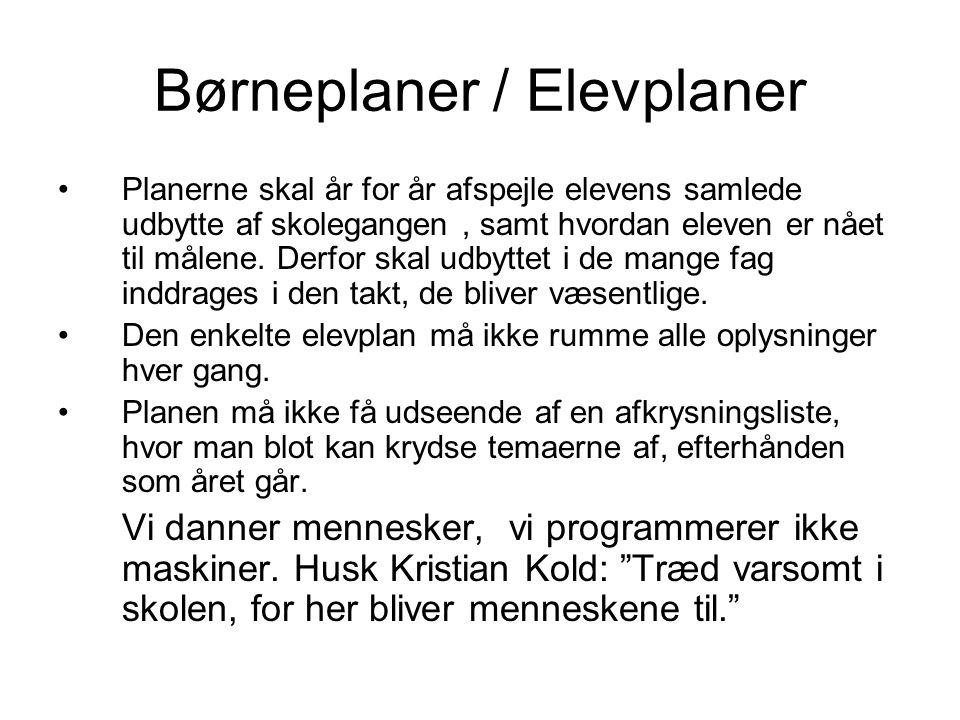 Børneplaner / Elevplaner