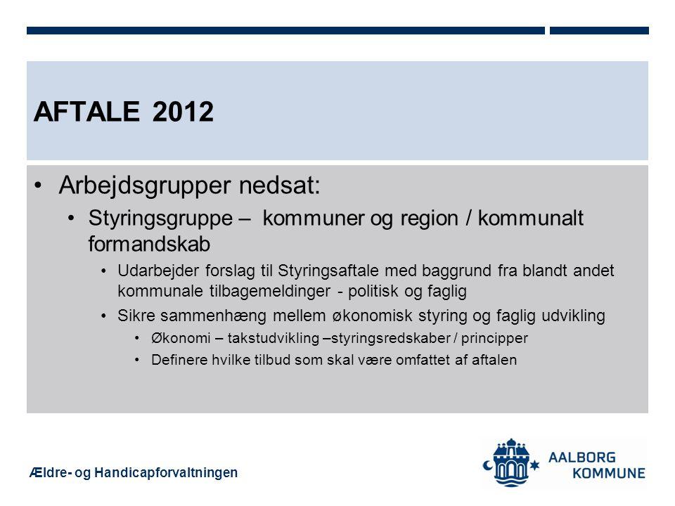 Aftale 2012 Arbejdsgrupper nedsat: