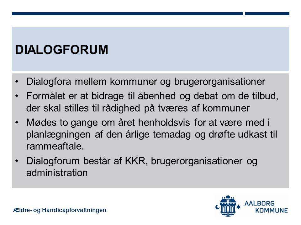 Dialogforum Dialogfora mellem kommuner og brugerorganisationer
