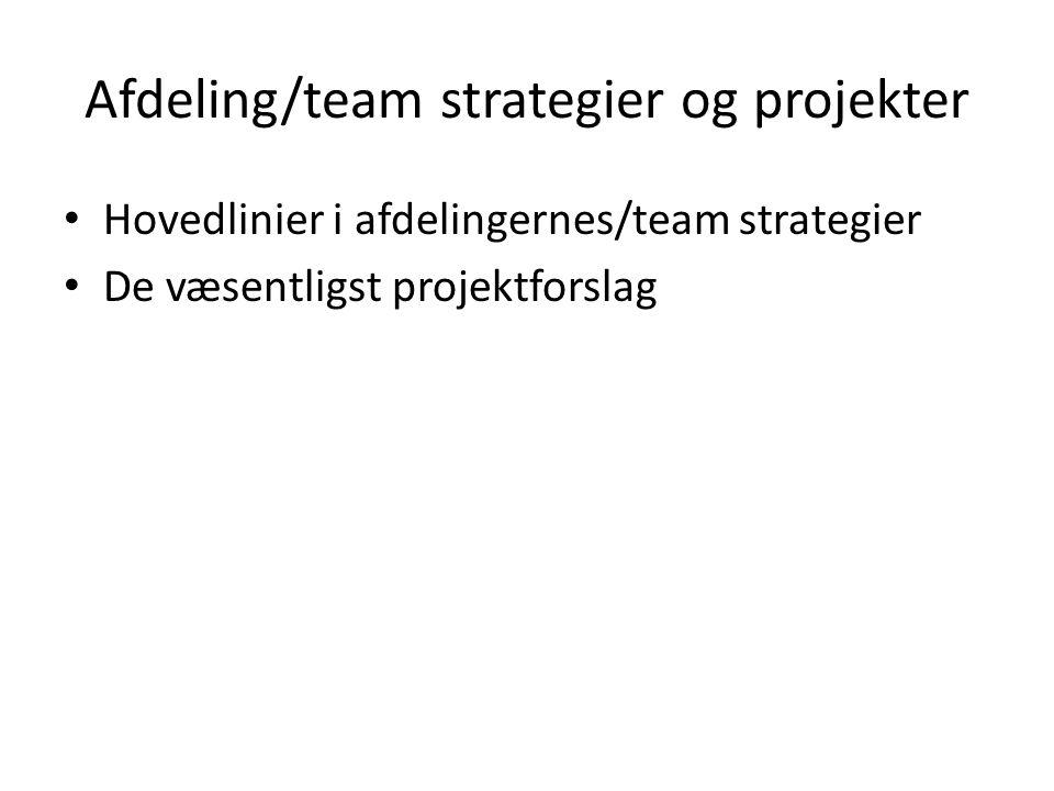 Afdeling/team strategier og projekter