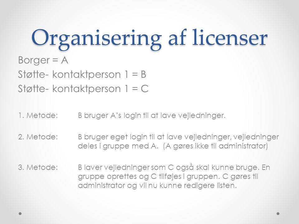 Organisering af licenser