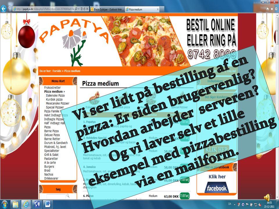 Vi ser lidt på bestilling af en pizza: Er siden brugervenlig
