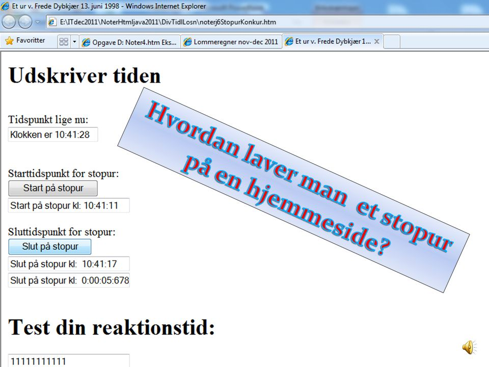 Hvordan laver man et stopur på en hjemmeside
