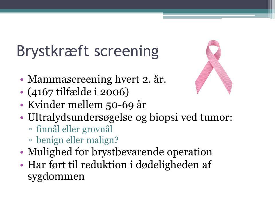 Brystkræft screening Mammascreening hvert 2. år.