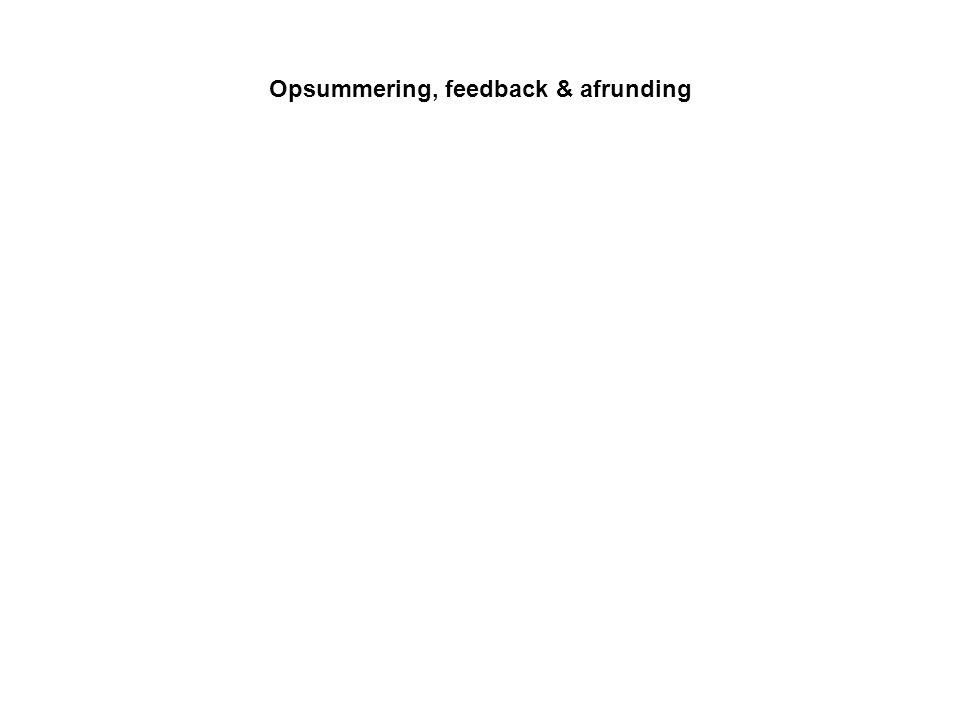Opsummering, feedback & afrunding