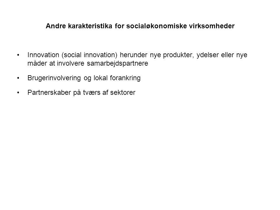 Andre karakteristika for socialøkonomiske virksomheder