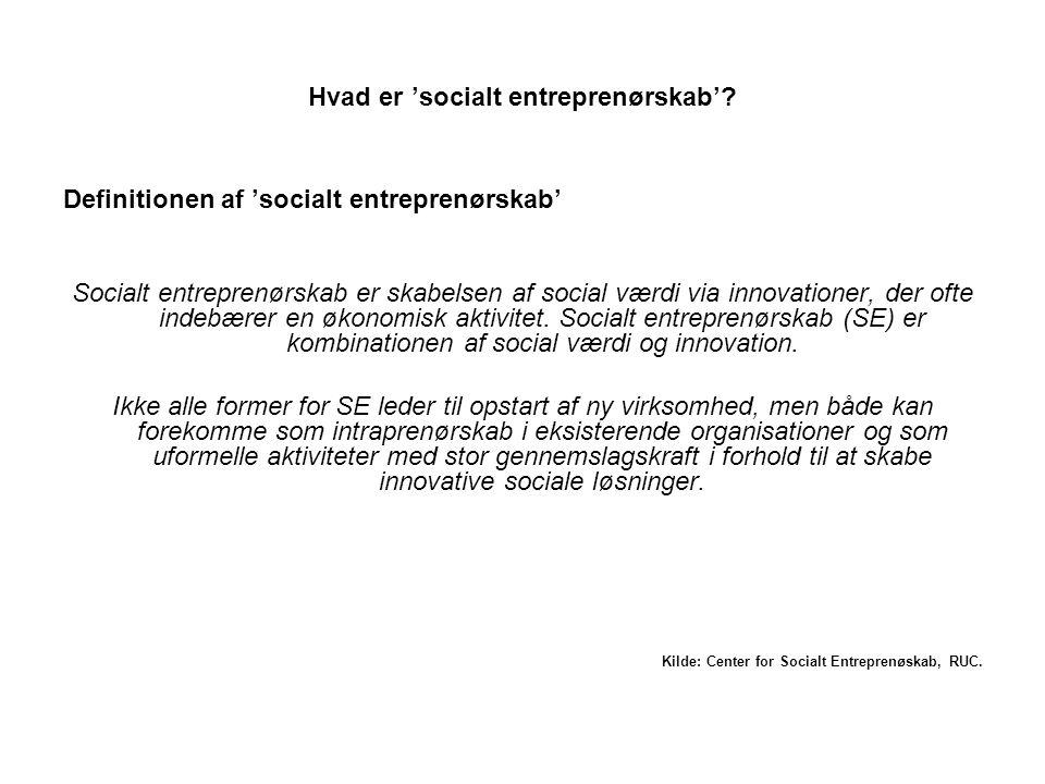 Hvad er 'socialt entreprenørskab'