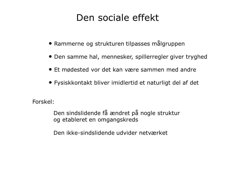 Den sociale effekt Rammerne og strukturen tilpasses målgruppen