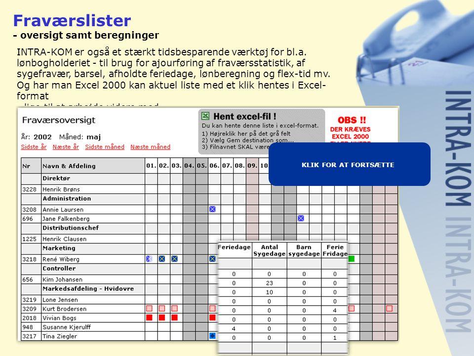 Fraværslister - oversigt samt beregninger