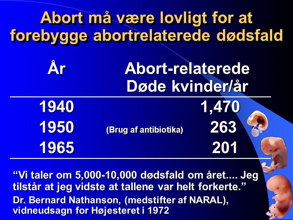 Abort må være lovligt for at forebygge abortrelaterede dødsfald