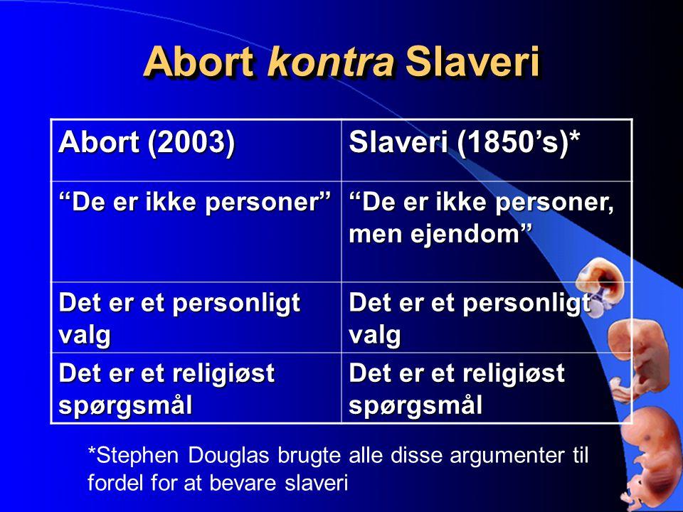 Abort kontra Slaveri Abort (2003) Slaveri (1850's)*