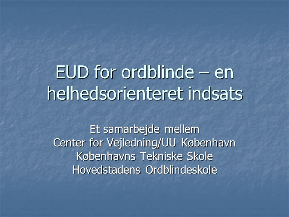 EUD for ordblinde – en helhedsorienteret indsats