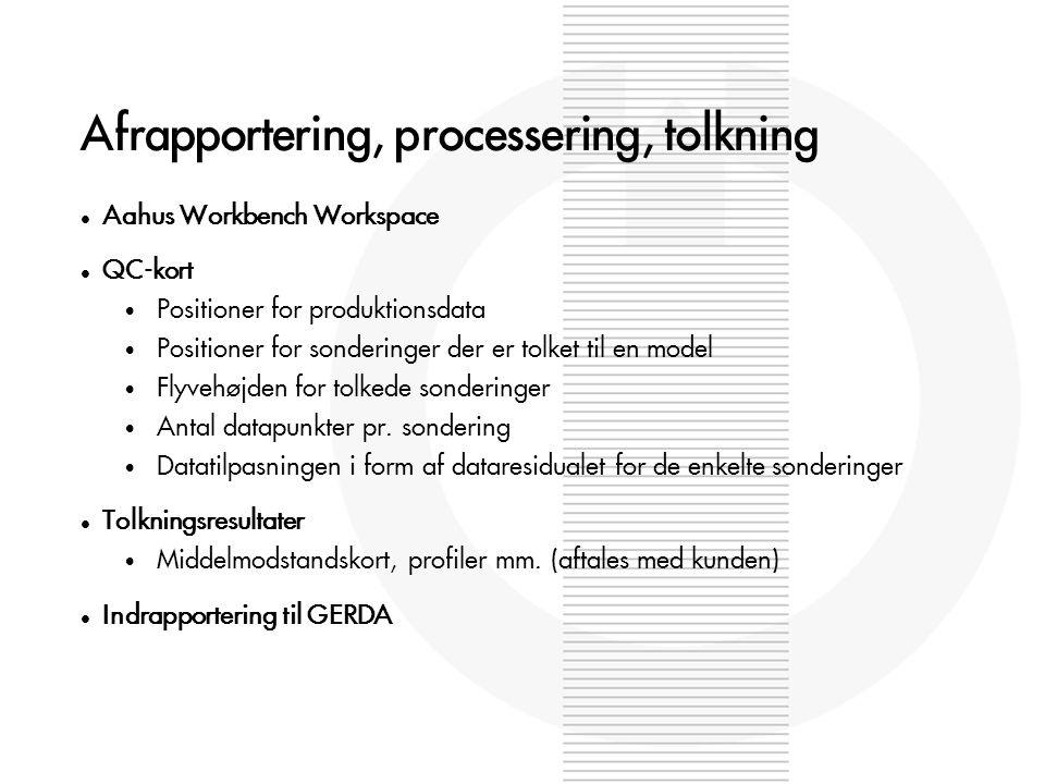 Afrapportering, processering, tolkning