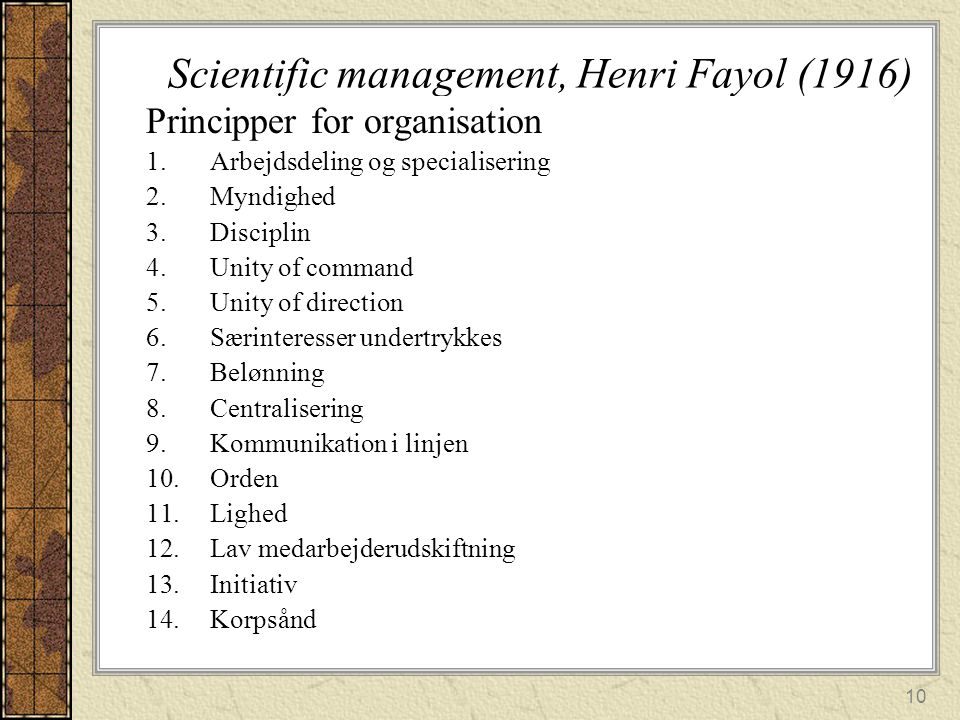 Scientific management, Henri Fayol (1916)