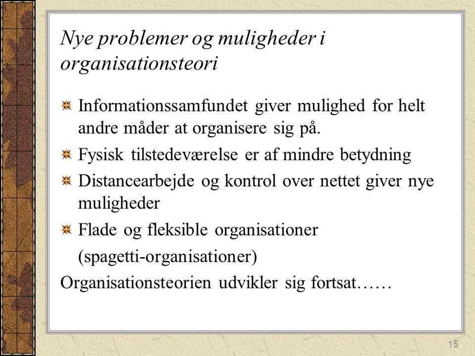 Nye problemer og muligheder i organisationsteori