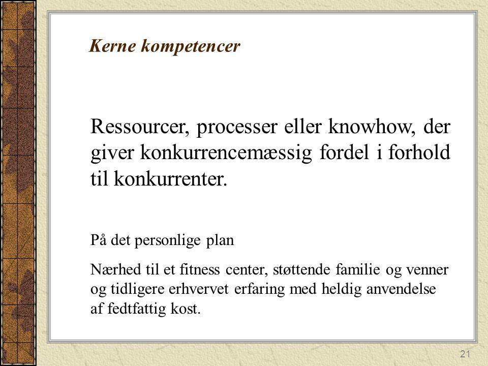 Kerne kompetencer Ressourcer, processer eller knowhow, der giver konkurrencemæssig fordel i forhold til konkurrenter.