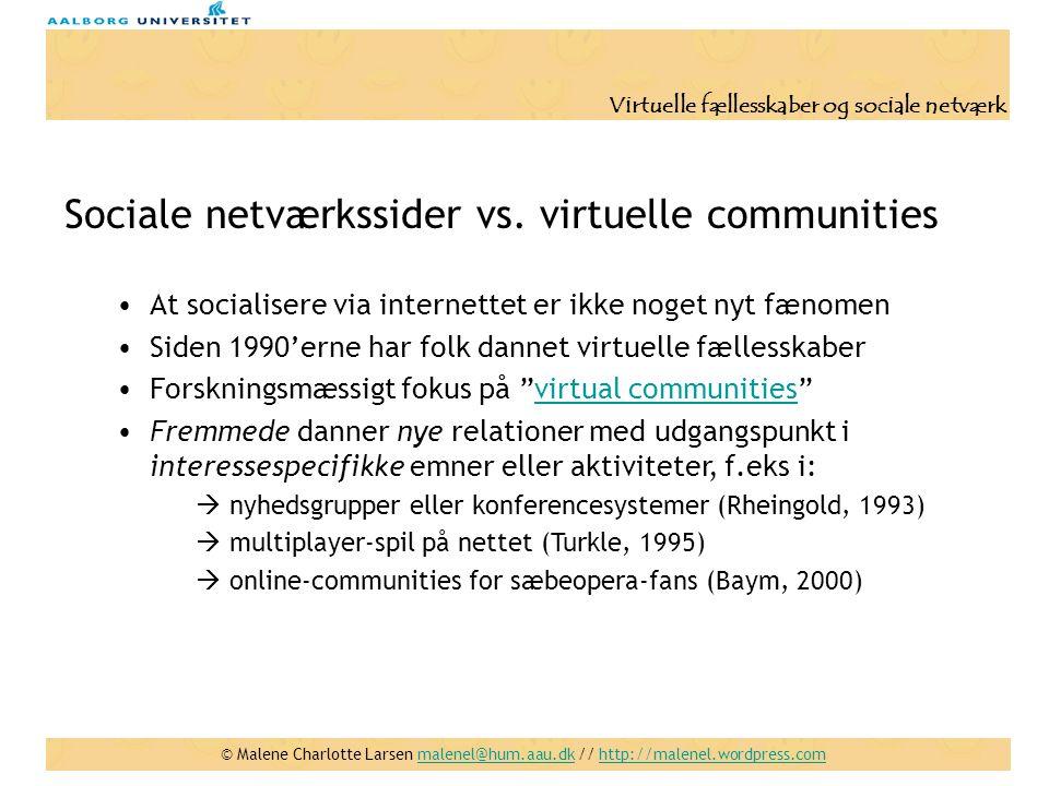 Sociale netværkssider vs. virtuelle communities