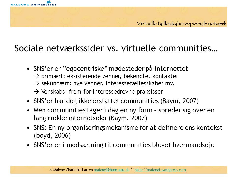 Sociale netværkssider vs. virtuelle communities…