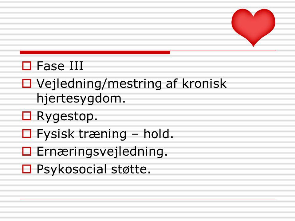 Fase III Vejledning/mestring af kronisk hjertesygdom. Rygestop. Fysisk træning – hold. Ernæringsvejledning.