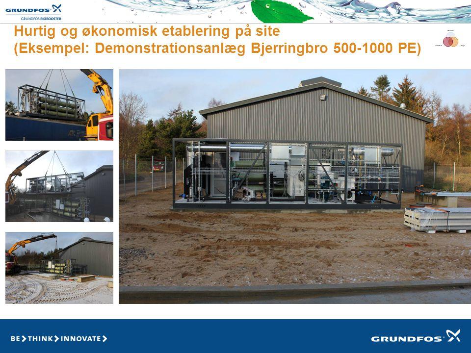 Hurtig og økonomisk etablering på site (Eksempel: Demonstrationsanlæg Bjerringbro 500-1000 PE)