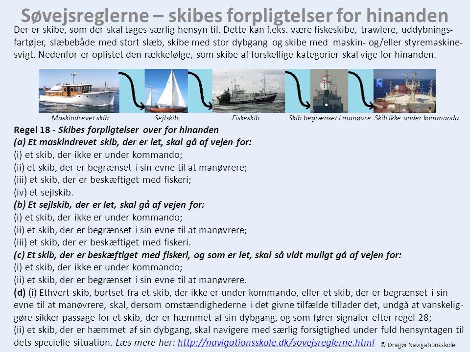 Søvejsreglerne – skibes forpligtelser for hinanden