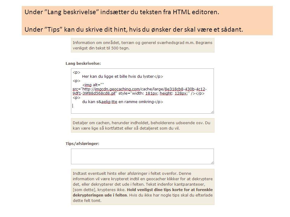 Under Lang beskrivelse indsætter du teksten fra HTML editoren.