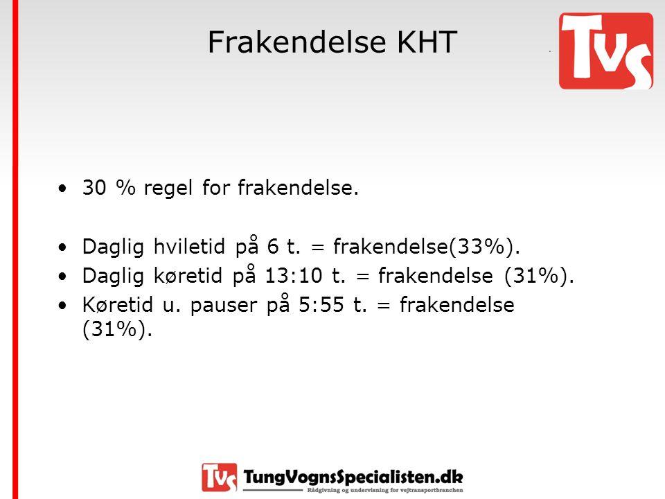 Frakendelse KHT 30 % regel for frakendelse.
