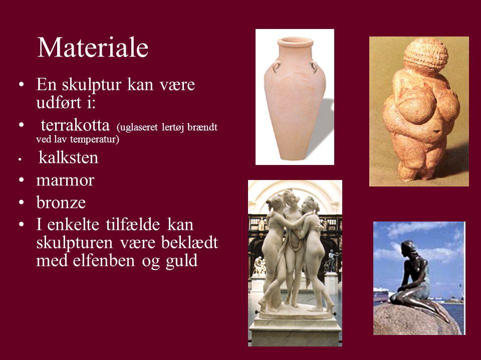 Materiale En skulptur kan være udført i: