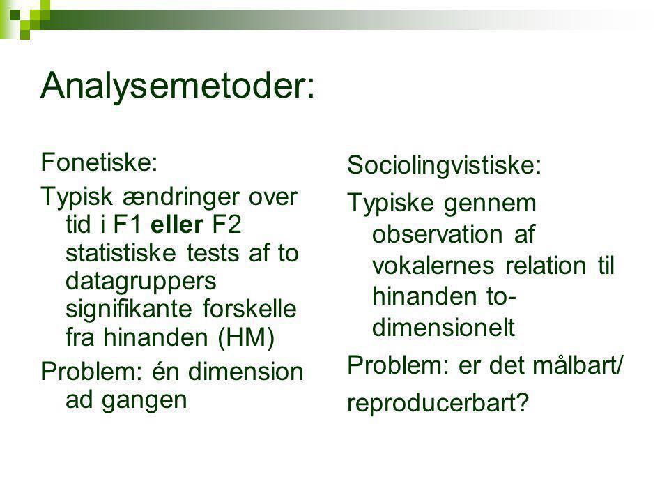 Analysemetoder: Fonetiske: