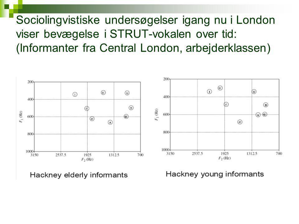 Sociolingvistiske undersøgelser igang nu i London viser bevægelse i STRUT-vokalen over tid: (Informanter fra Central London, arbejderklassen)