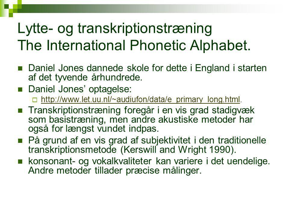 Lytte- og transkriptionstræning The International Phonetic Alphabet.