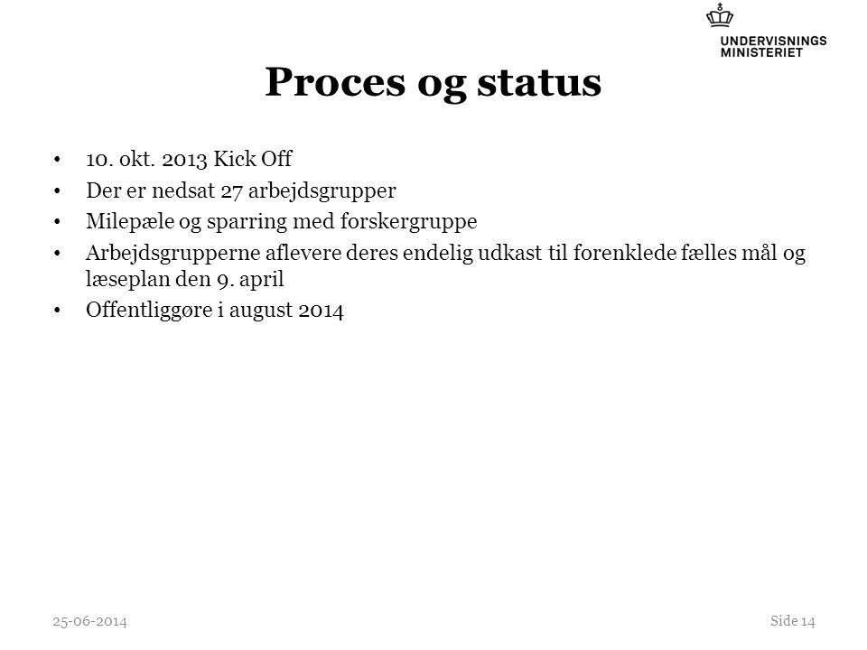 Proces og status 10. okt. 2013 Kick Off