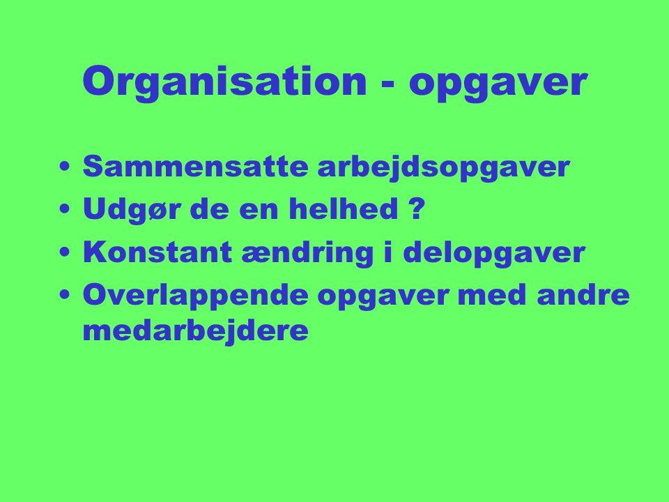 Organisation - opgaver