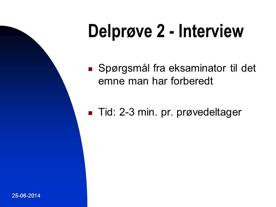Delprøve 2 - Interview Spørgsmål fra eksaminator til det emne man har forberedt. Tid: 2-3 min. pr. prøvedeltager.