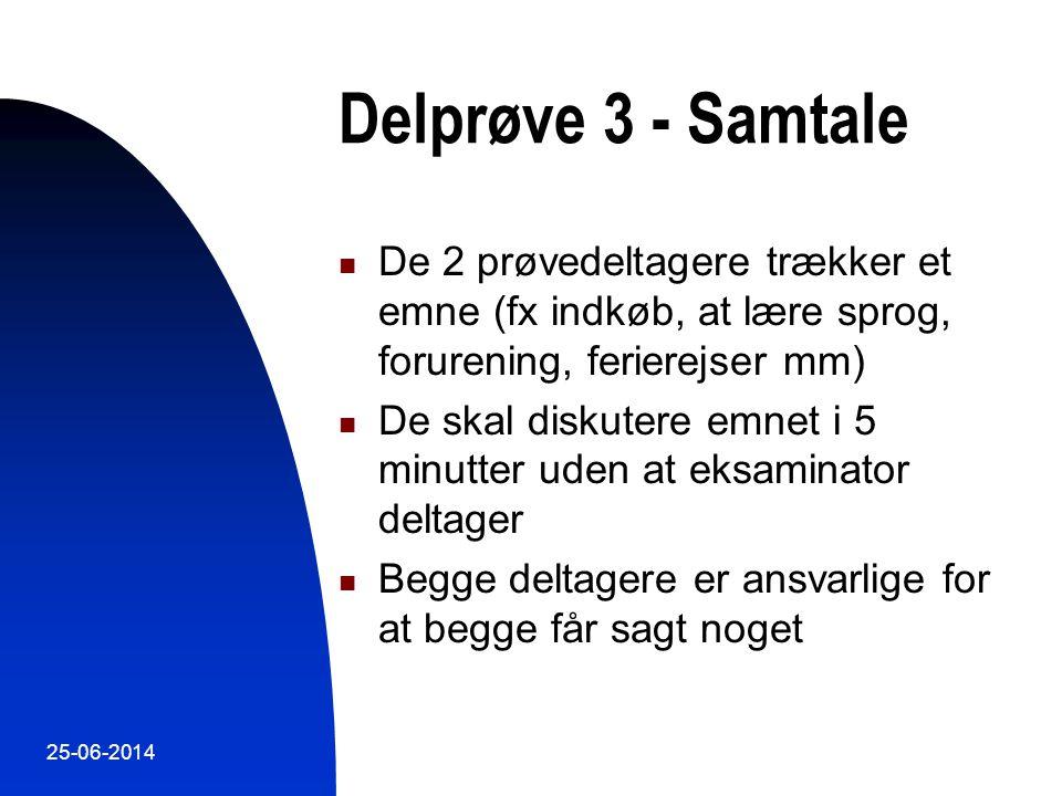 Delprøve 3 - Samtale De 2 prøvedeltagere trækker et emne (fx indkøb, at lære sprog, forurening, ferierejser mm)