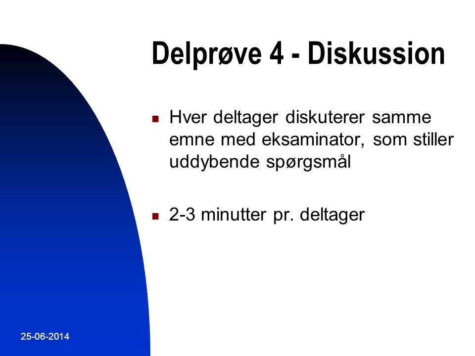 Delprøve 4 - Diskussion Hver deltager diskuterer samme emne med eksaminator, som stiller uddybende spørgsmål.