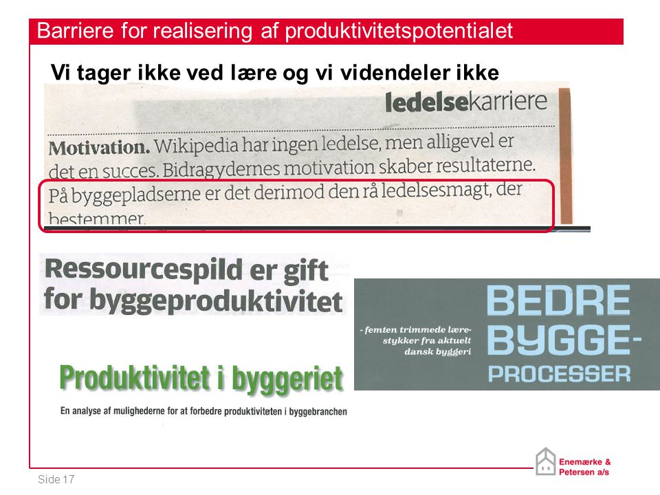 Barriere for realisering af produktivitetspotentialet